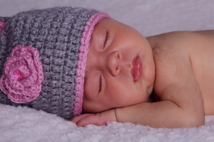 Gray and Pink Hatted Baby
